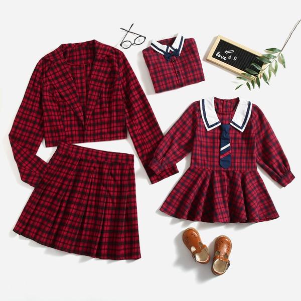 Tartan Lapel Collar Open Front Top & Pleated Skirt, Multicolor