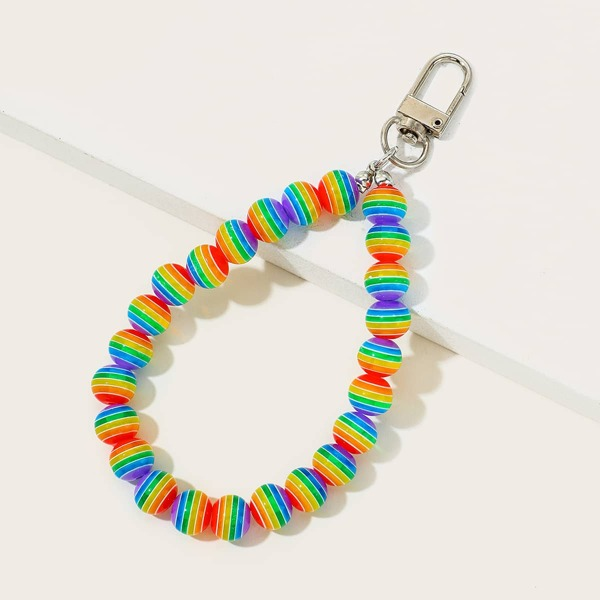 Rainbow Striped Bead Bag Charm, Multicolor