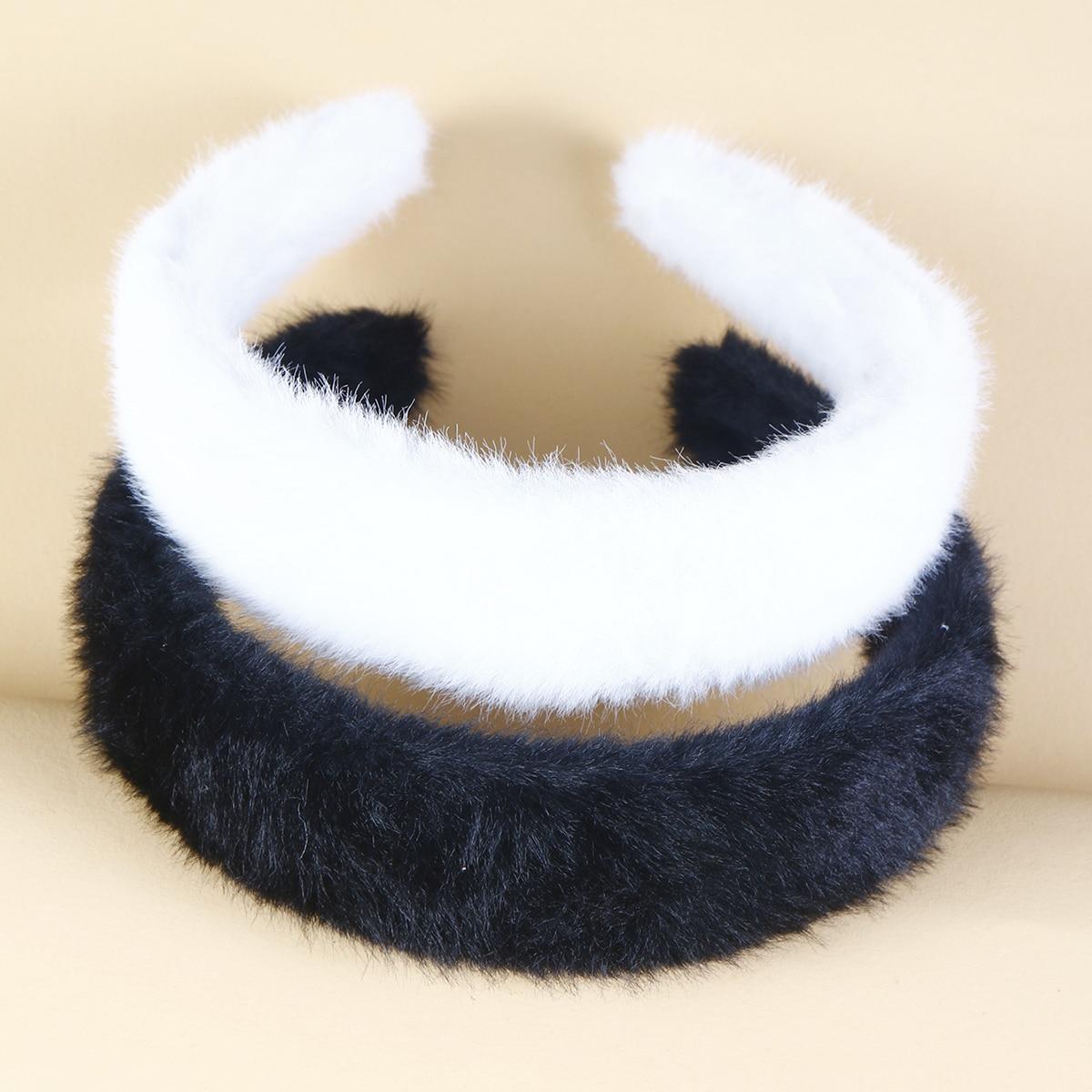 2pcs Solid Fuzzy Headband
