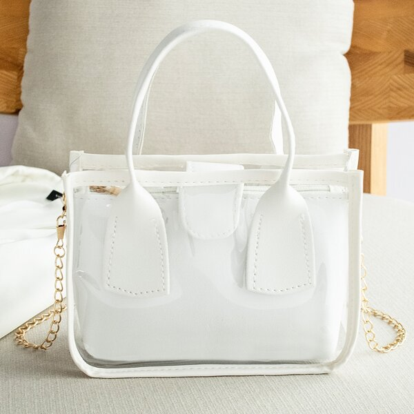 Mini Clear Satchel Bag With Inner Pouch, White
