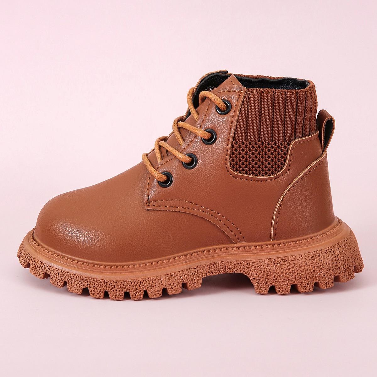 Минималистичные ботинки на шнурке для мальчиков SheIn sk2107300018174234