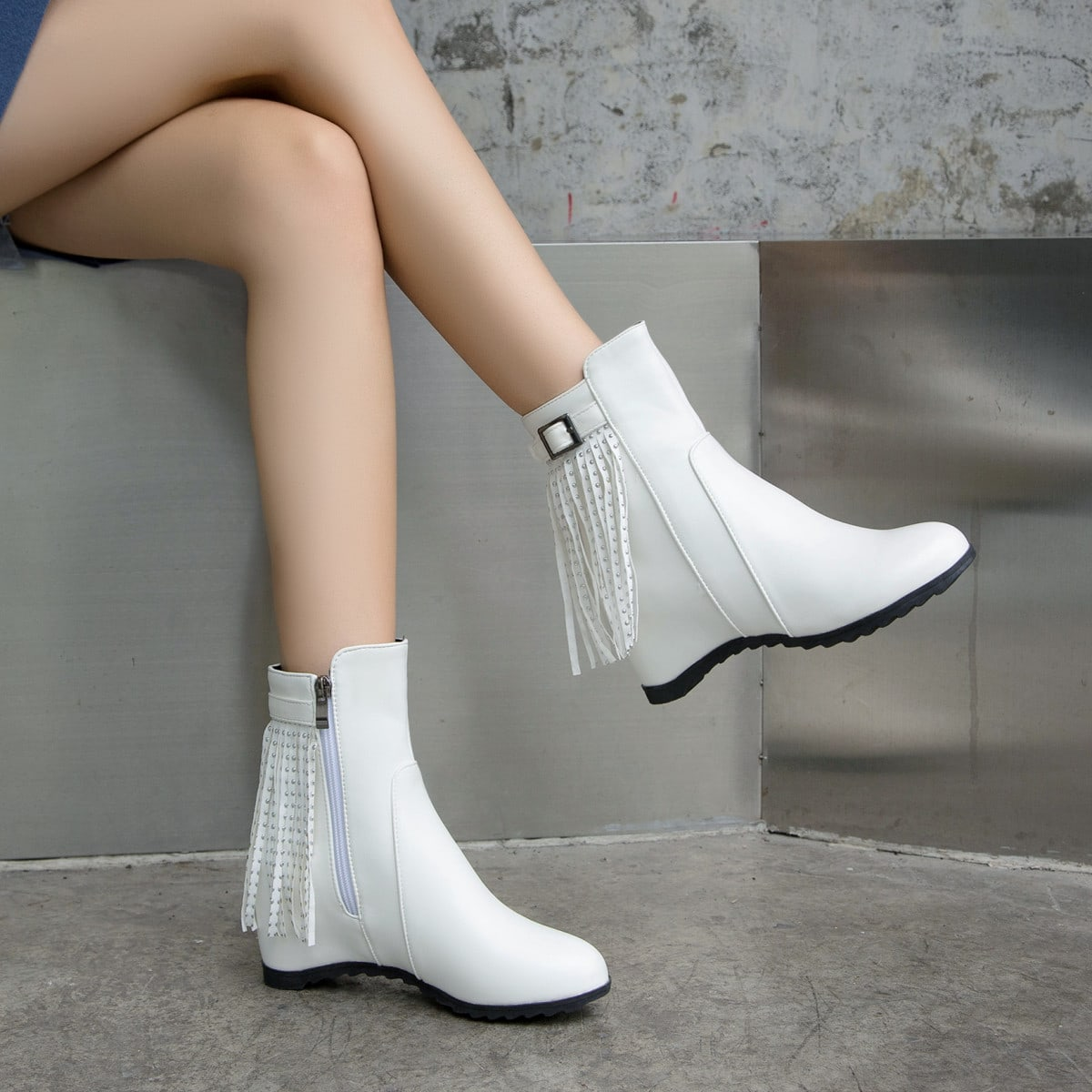 Fringe Decor Side Zipper Hidden Heeled Boots, SHEIN  - buy with discount