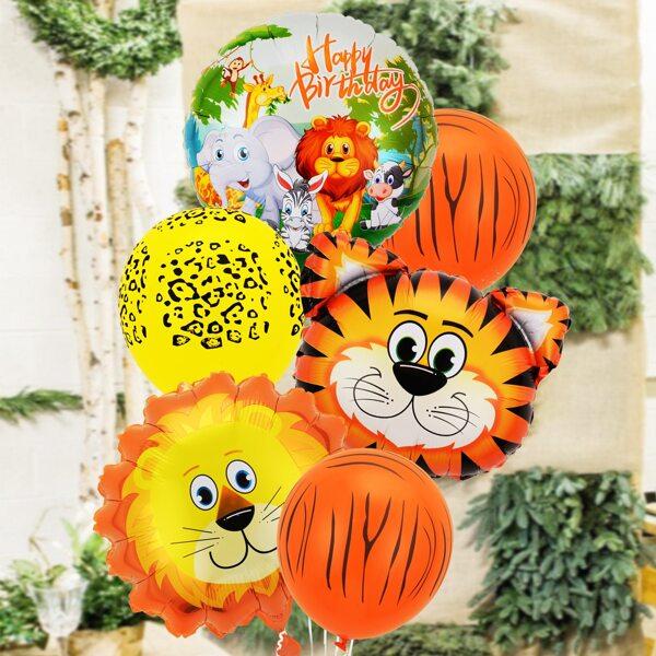6pcs Cartoon Graphic Decoration Balloon, Multicolor