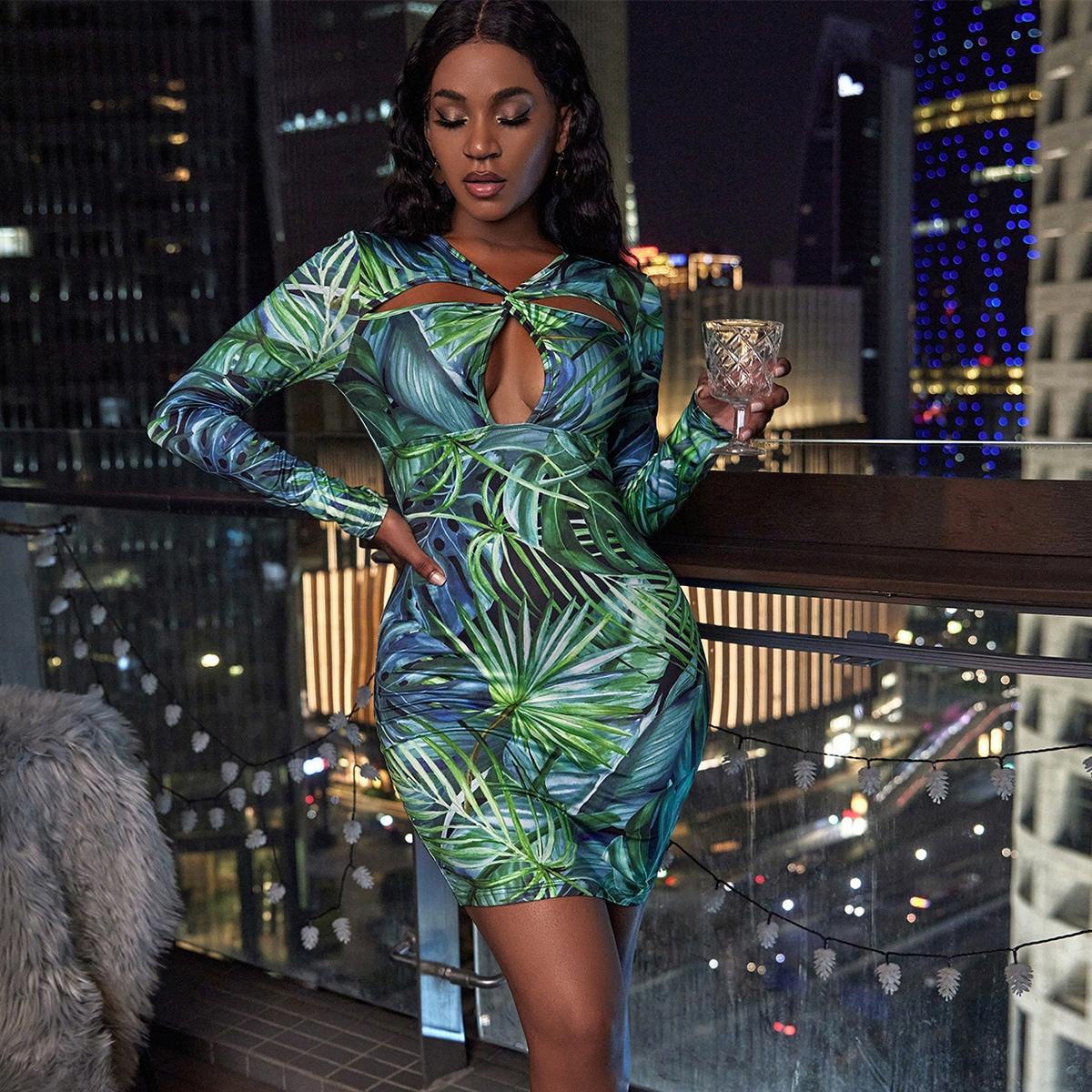 Tropical Print Twist Cut Out Front Bodycon Dress