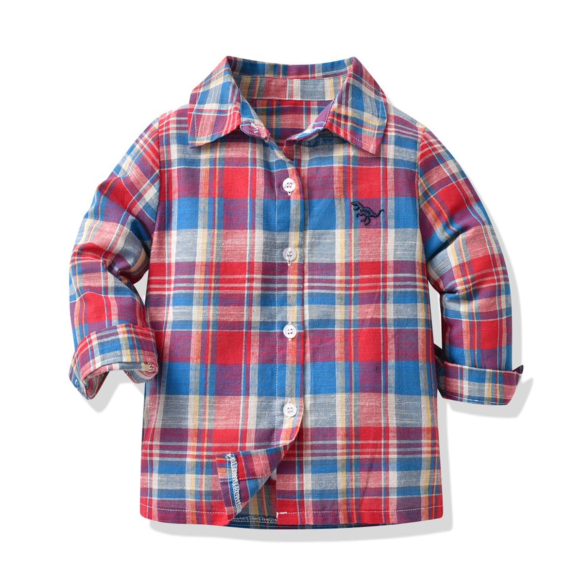 Рубашка с вышивкой динозавров для мальчиков