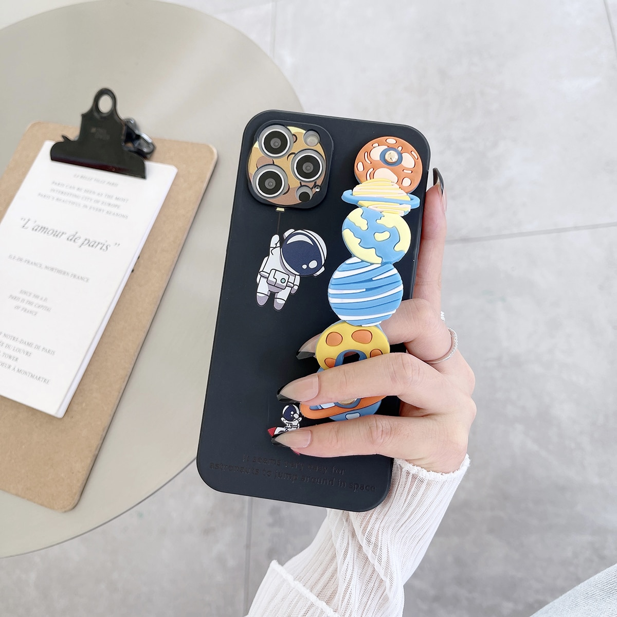 Cartoon Astronaut Phone Case With Planet Hand Strap, SHEIN  - buy with discount