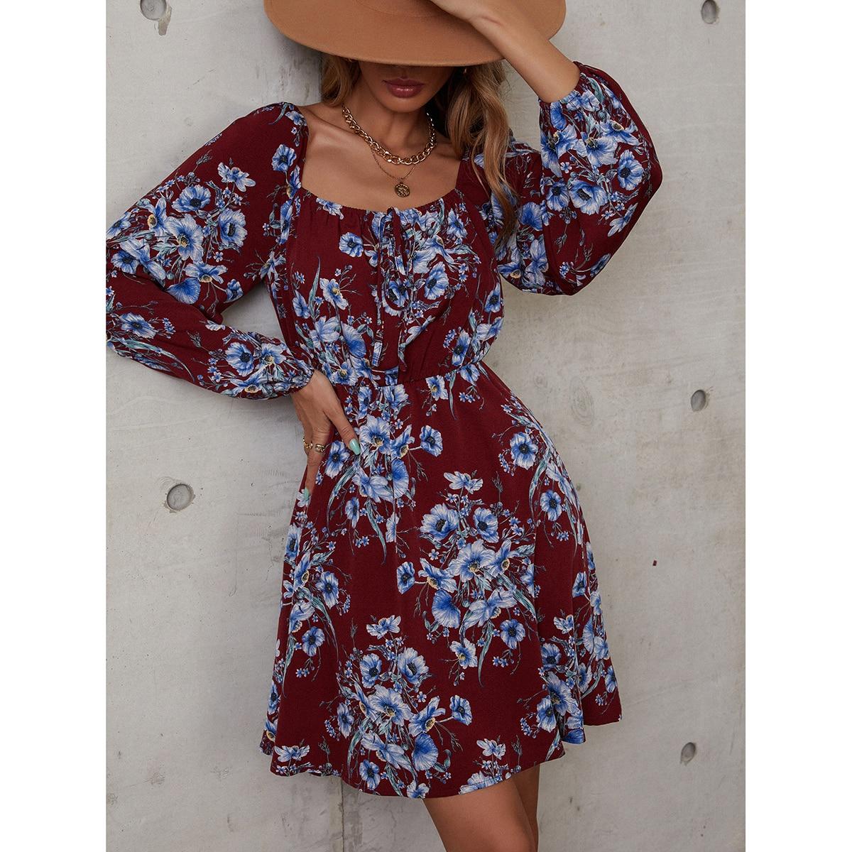 Floral Print Square Neck Tie Front A-line Dress