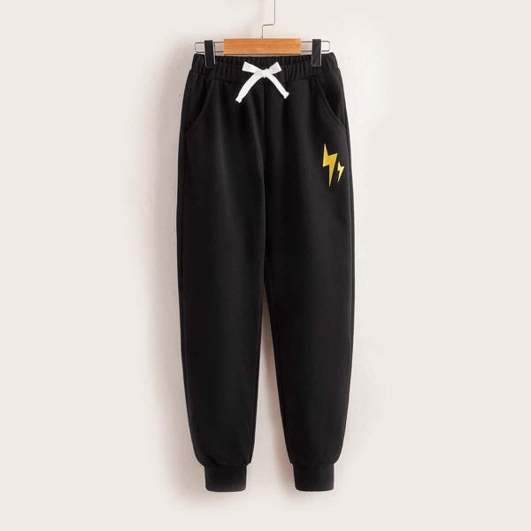 Boys Lightning Print Tie Front Slant Pockets Sweatpants, Black