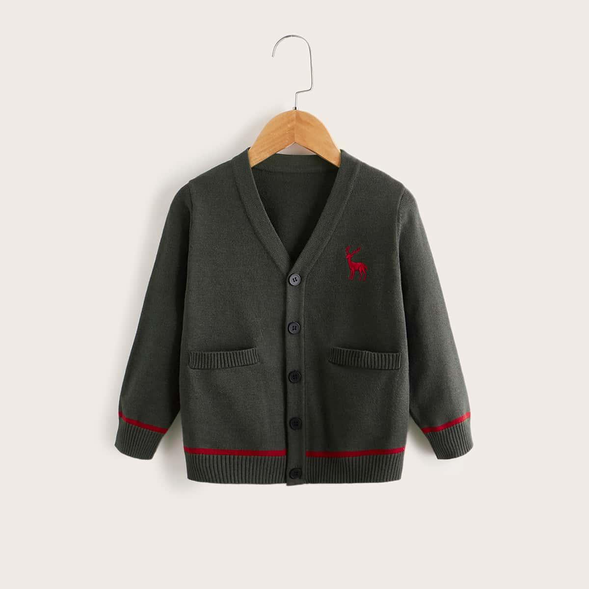 Кардиган с двумя карманами и вышивкой оленя для малышей SheIn sk2106199474476583