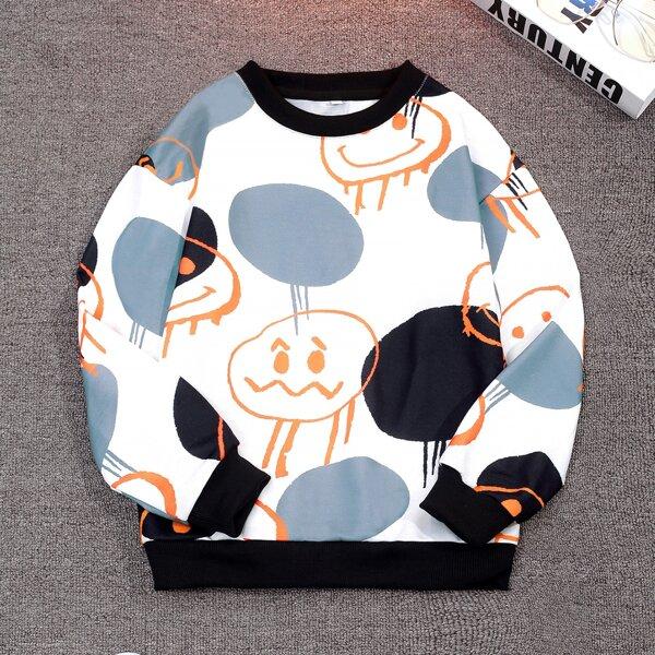 Boys Cartoon & Polka Dot Print Pullover, Multicolor