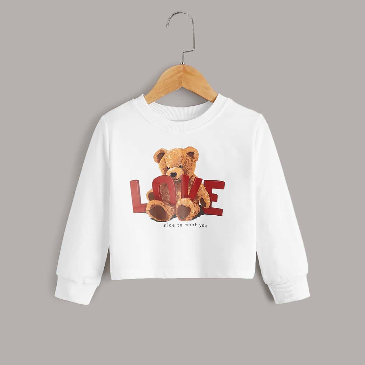 Toddler Girls Bear & Slogan Graphic Sweatshirt, SHEIN  - buy with discount