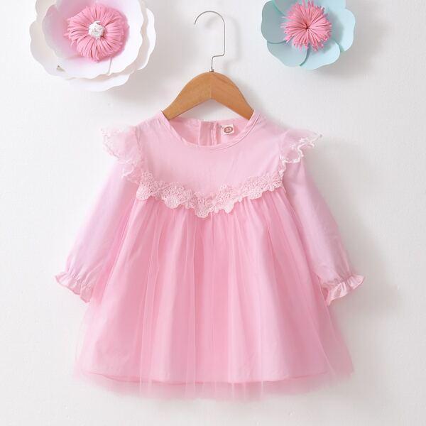 Baby Guipure Lace Detail Flounce Sleeve Ruffle Trim Mesh Hem Dress, Pink