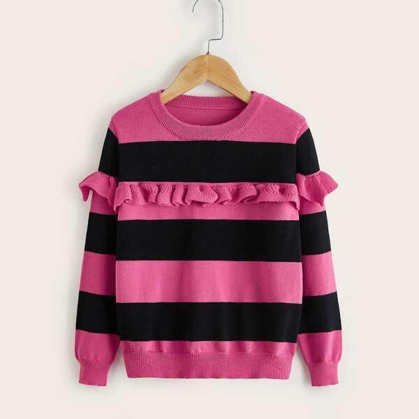 Girls Color Block Ruffle Trim Sweater, Hot pink
