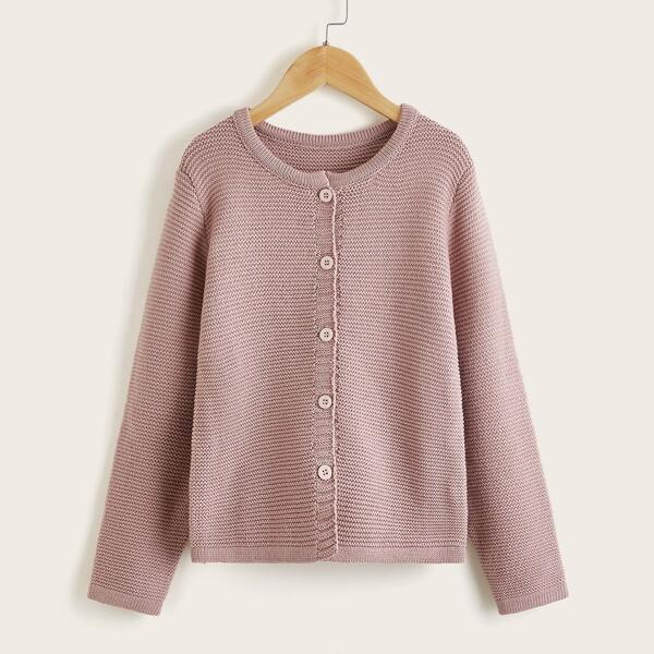 Girls Solid Button Front Cardigan, Dusty pink