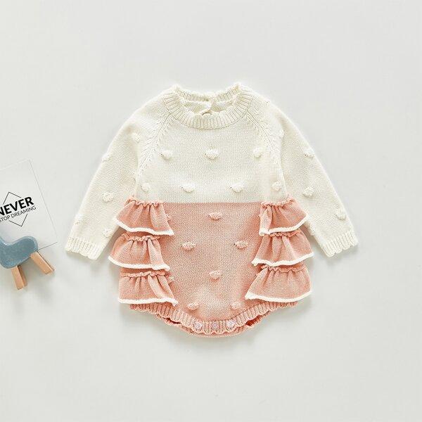 Baby Color Block Ruffle Trim Raglan Sleeve Popcorn Knit Bodysuit, Pink