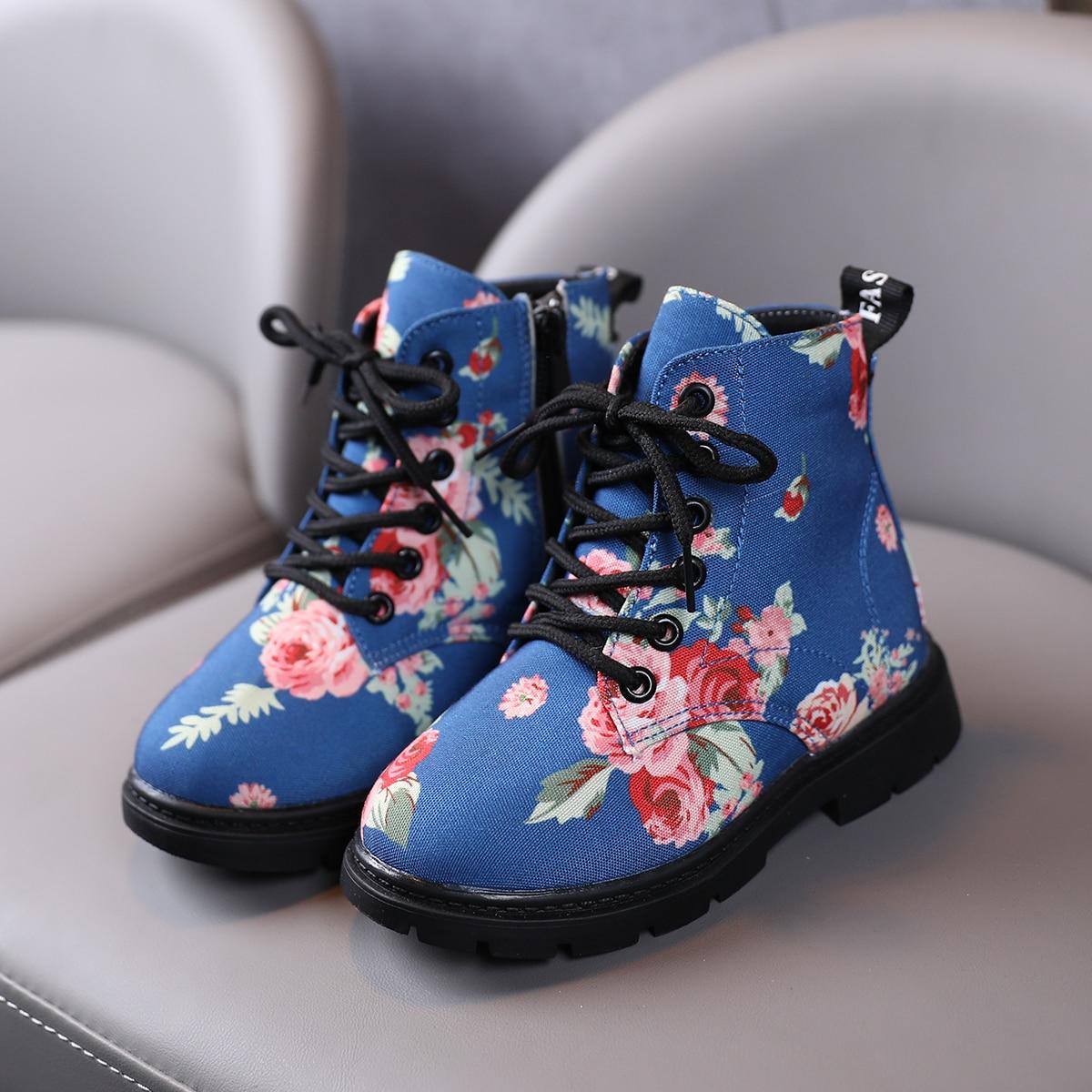 Ботинки с цветочным рисунком для девочек SheIn sk2108030090101309