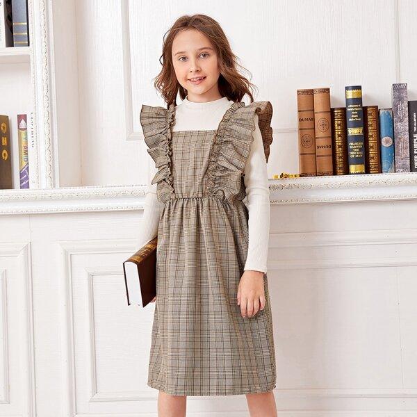 Girls Tartan Print Ruffle Trim Dress & Ribbed Knit Top, Multicolor