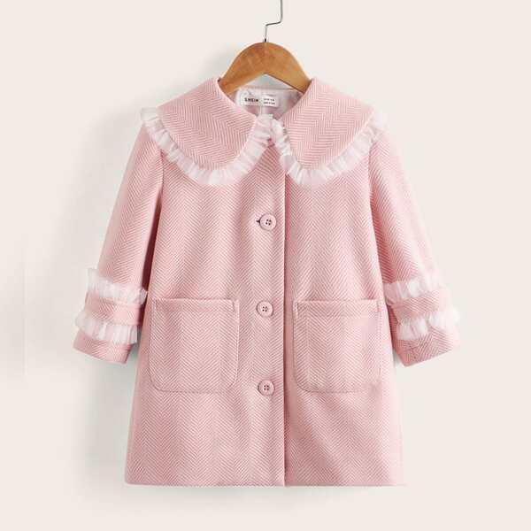 Toddler Girls Peter Pan Collar Frill Trim Overcoat, Baby pink