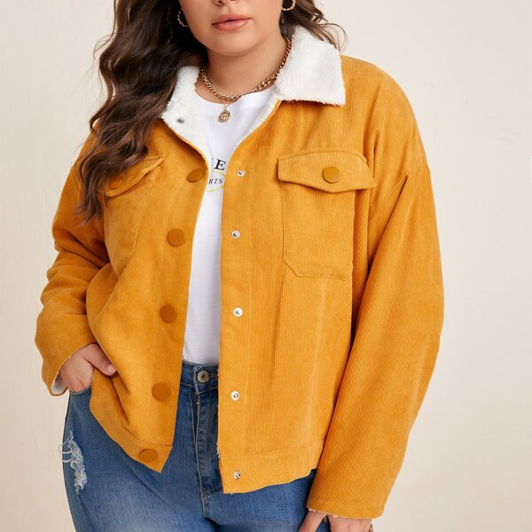 Plus Teddy Lined Flap Pocket Drop Shoulder Corduroy Jacket, Yellow