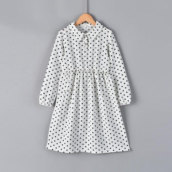 Girls Polka Dot Polo Neck Dress, White
