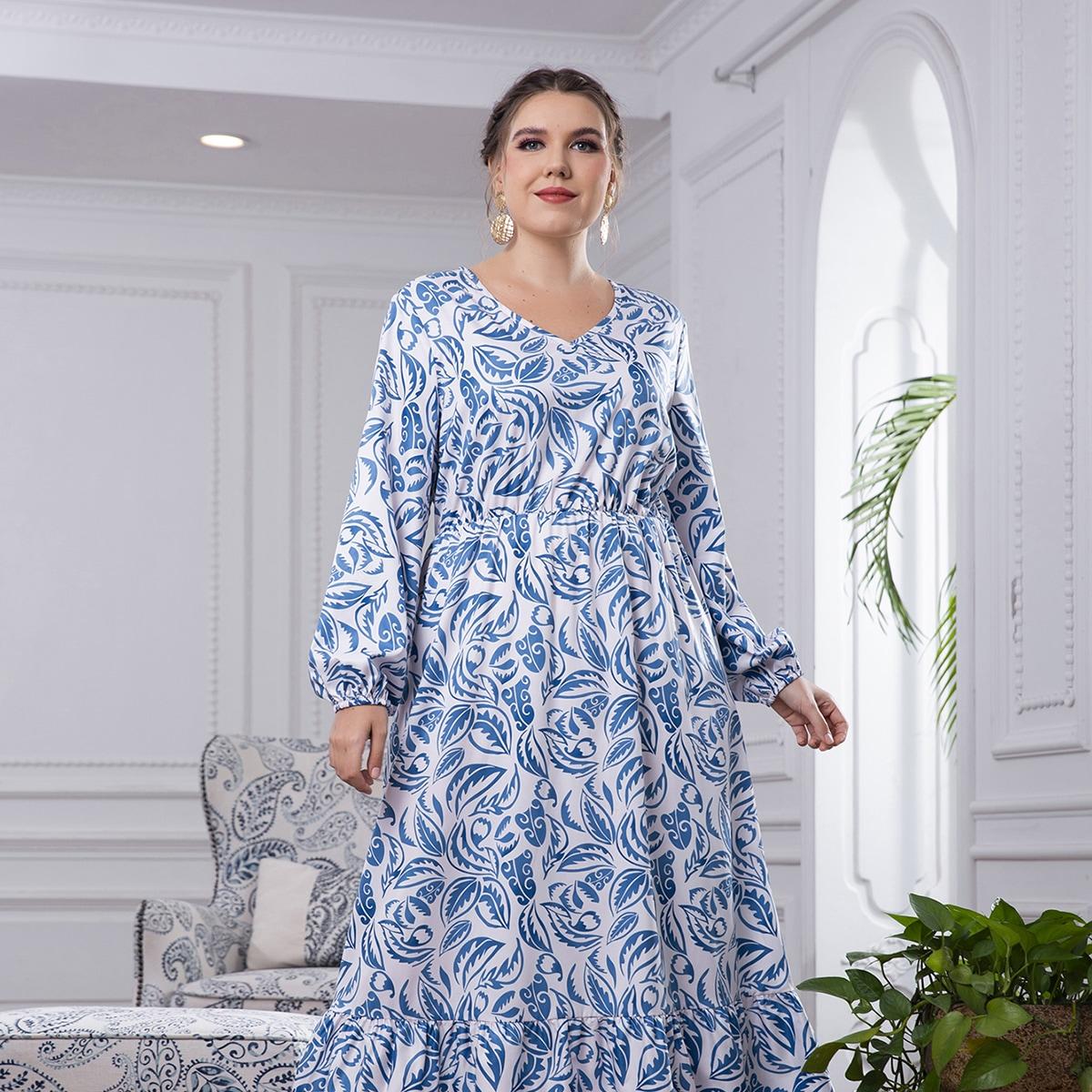Платье размера плюс с лиственным принтом и рукавами фонариками