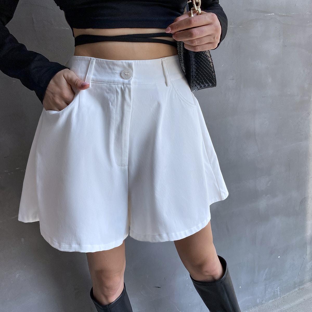 Slant Pocket Wide Leg Shorts