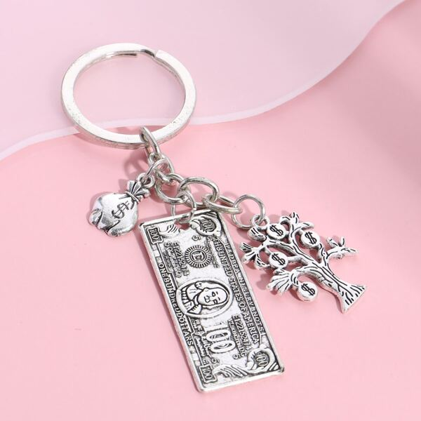 Dollar Charm Keychain, Antique silver