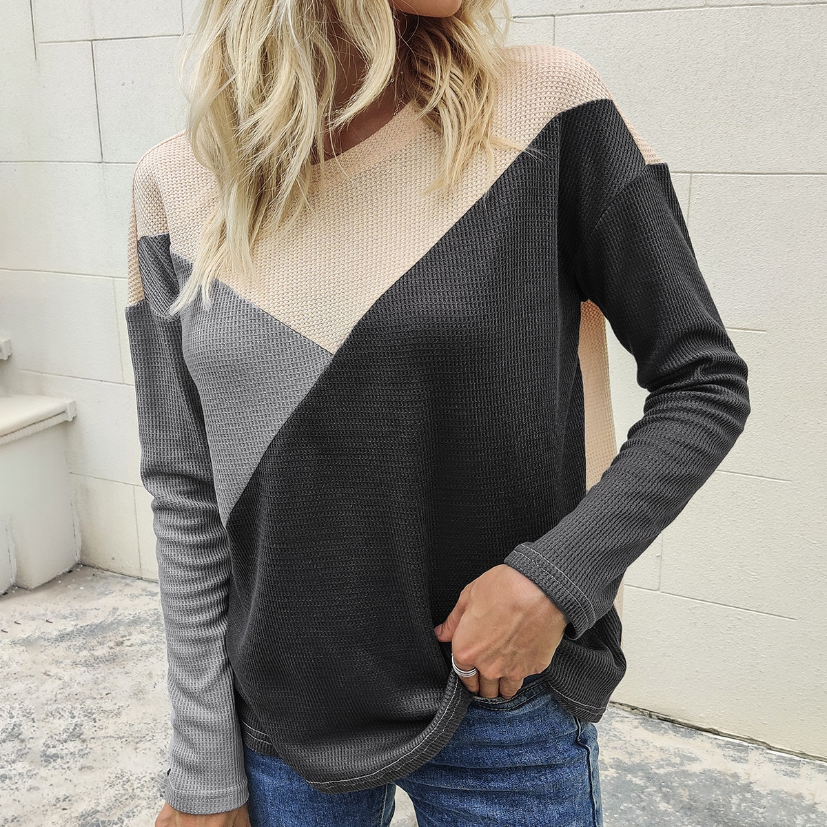 Cut And Sew Waffle Knit Drop Shoulder Tee