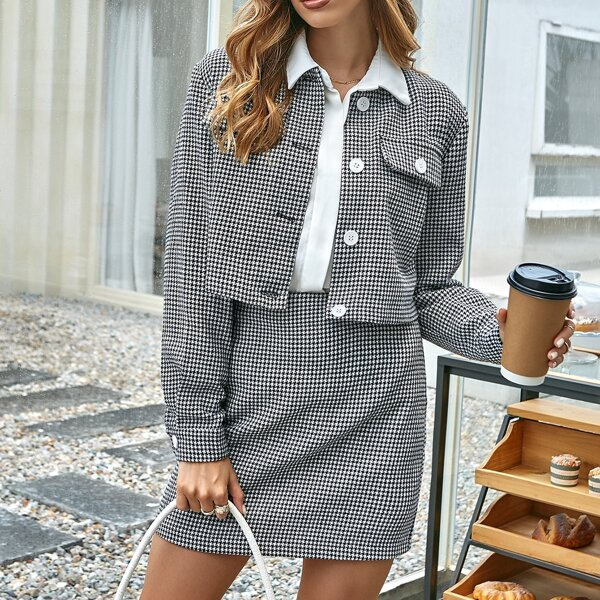 Houndstooth Print Crop Jacket & Skirt, Black and white