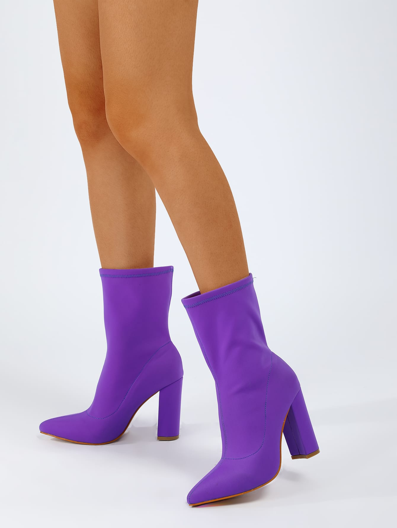 Minimalist Point Toe Chunky Heeled Sock Boots