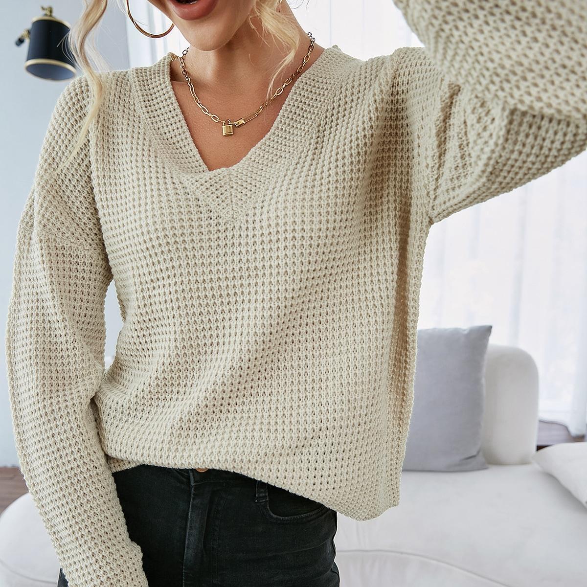 Solid Drop Shoulder V Neck Sweater