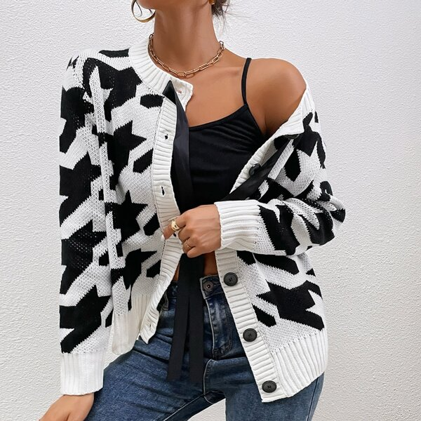 Houndstooth Pattern Button Front Knotted Cardigan, Black and white