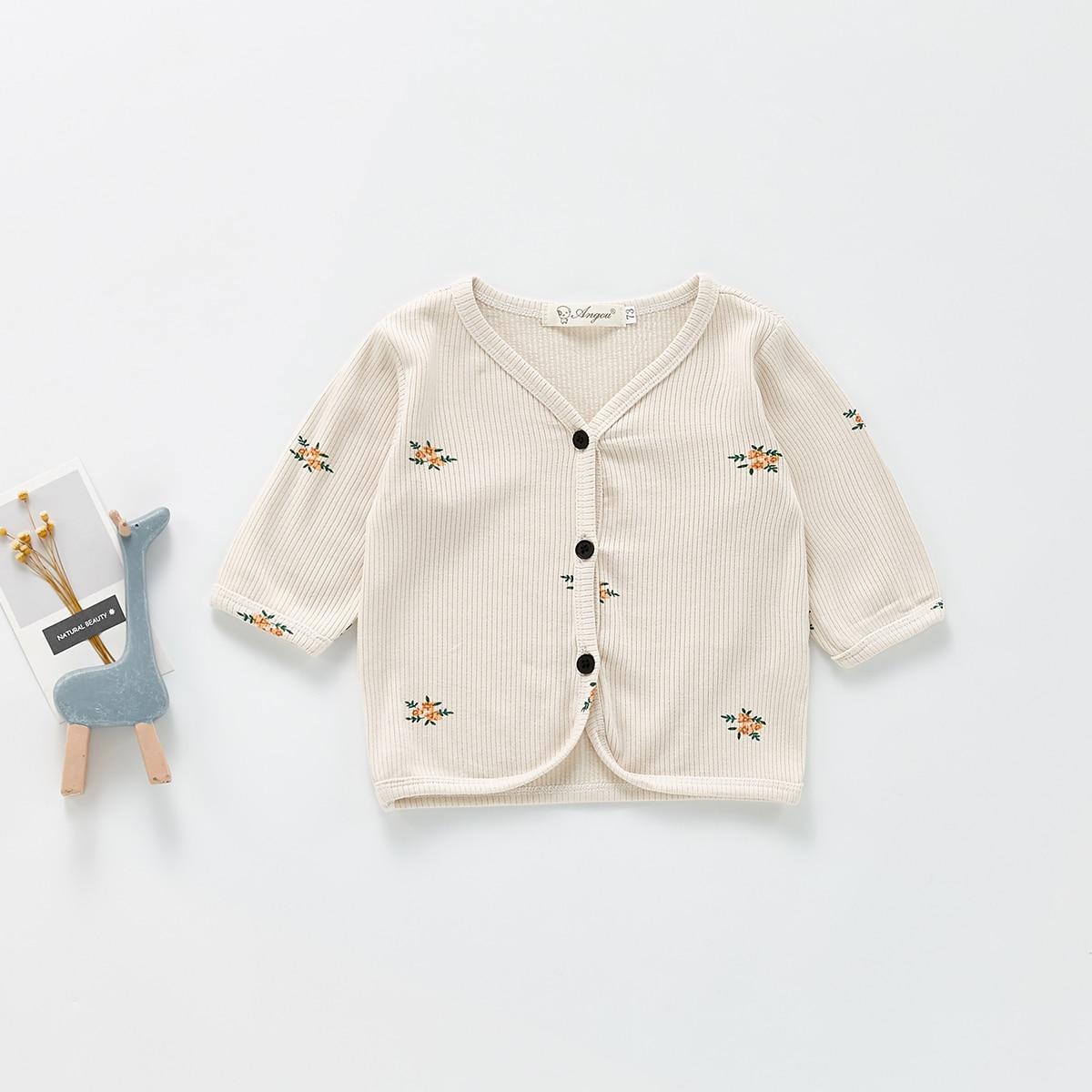 детский Кардиган в рубчик с цветочным узором SheIn sk2107135301995788