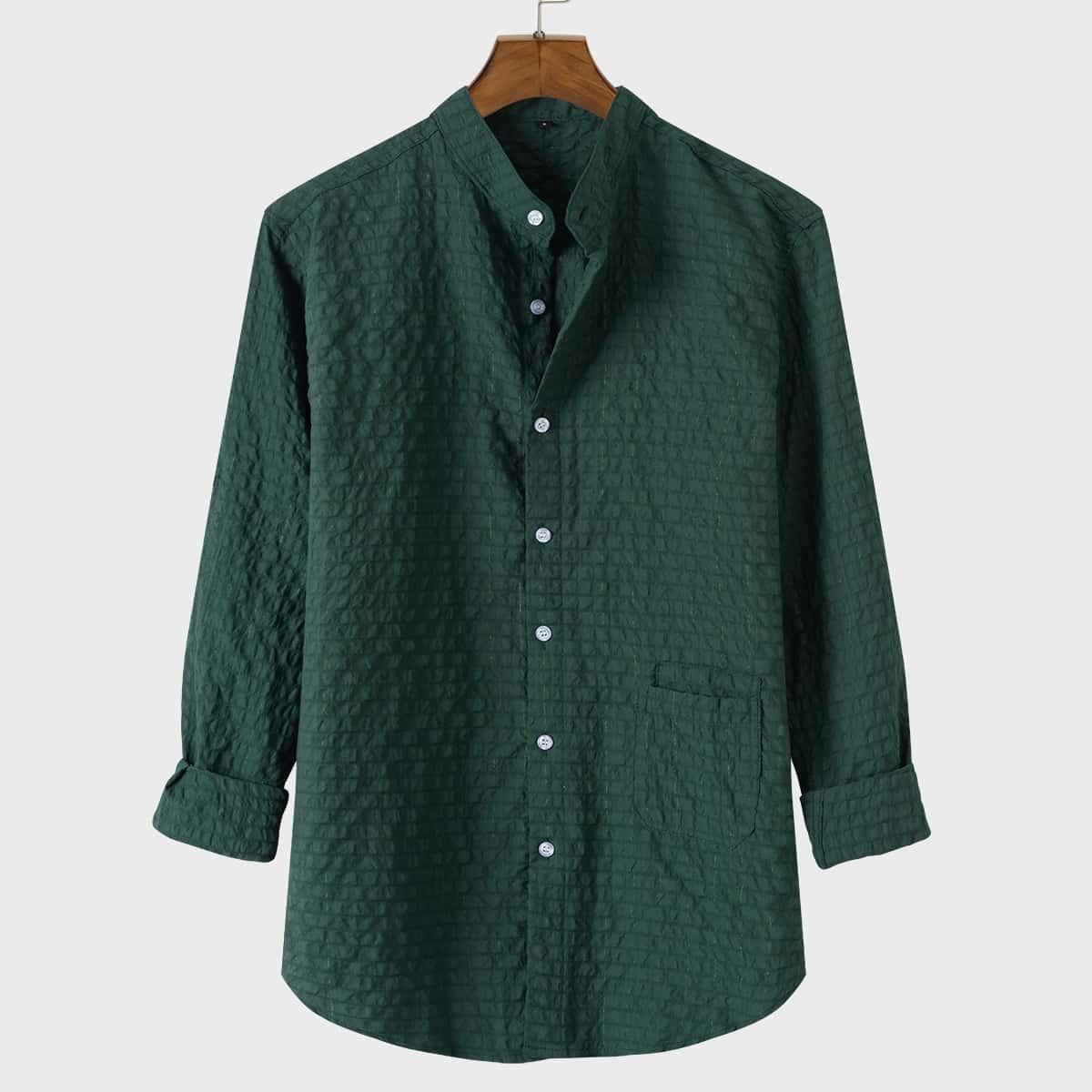 для мужчины Рубашка с карманом текстурированный на пуговицах