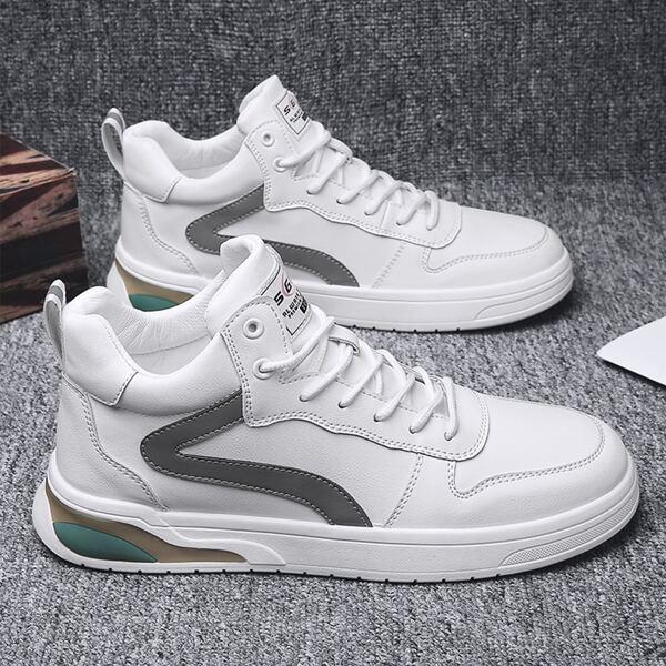 Men High Top Skate Shoes, White
