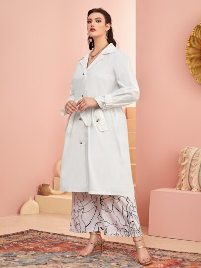 Plus Flap Pocket Belted Trench Coat