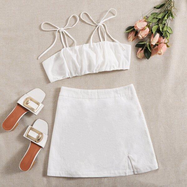 Knot Shoulder Tie Back Ruched Bust Crop Cami Top & Split Hem Skirt Set, White