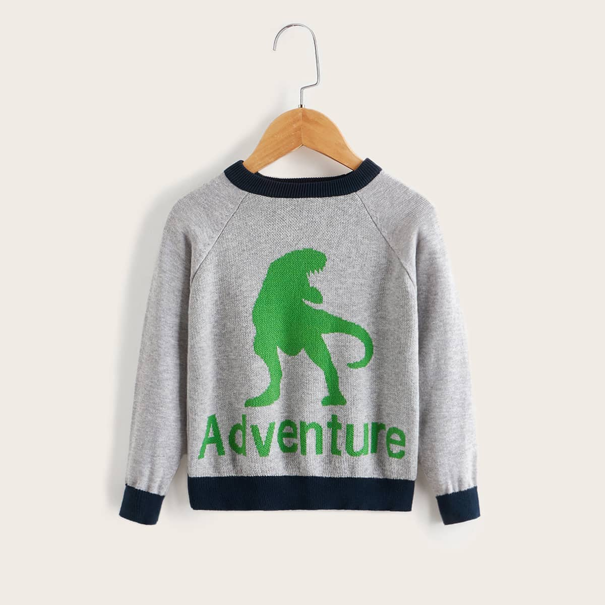 Toddler Boys Embroidery Letter Contrast Elbow Patch Cardigan