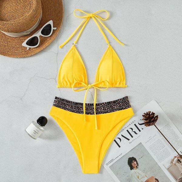 Leopard Trim Halter Triangle Bikini Swimsuit, Yellow