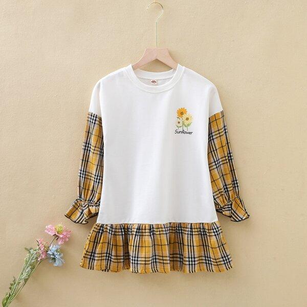 Girls Tartan Letter & Floral Print Flounce Sleeve Ruffle Hem Dress, White