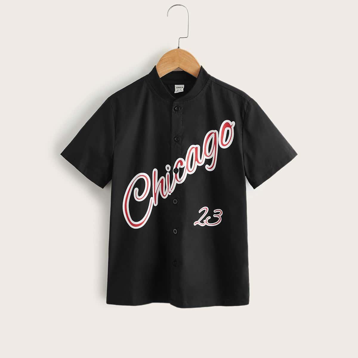 Рубашка с бейсбольным воротником и текстовым рисунком для мальчиков
