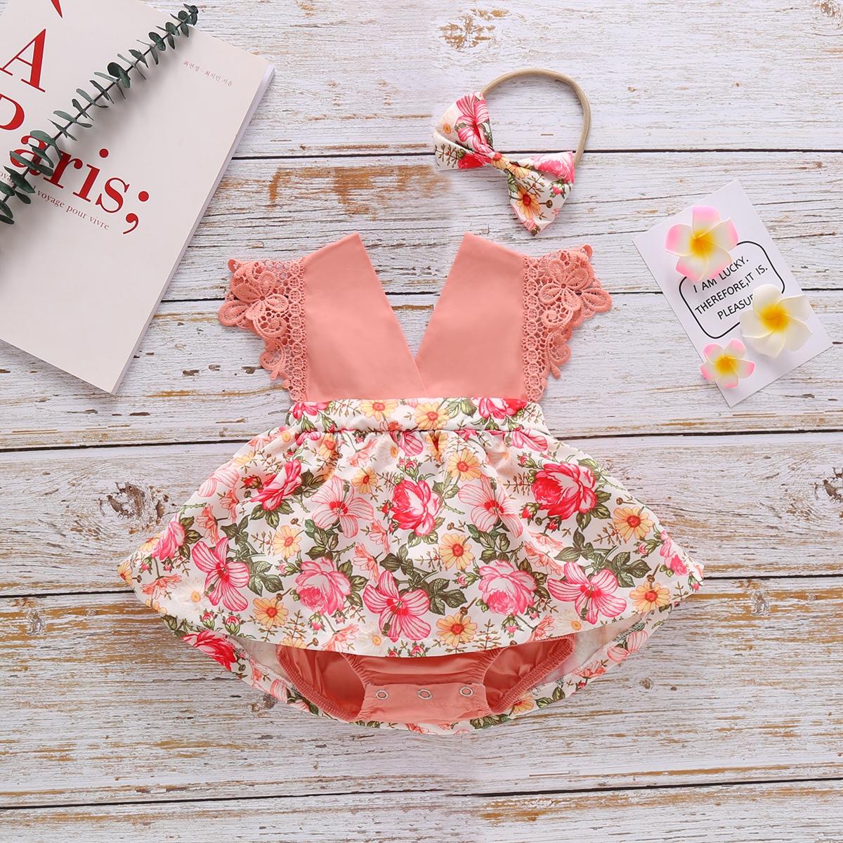 Платье-боди с кружевной отделкой и повязка на голову с цветочным принтом для девочек от SHEIN