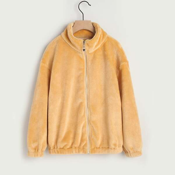 Girls Funnel Neck Drop Shoulder Teddy Jacket, Apricot