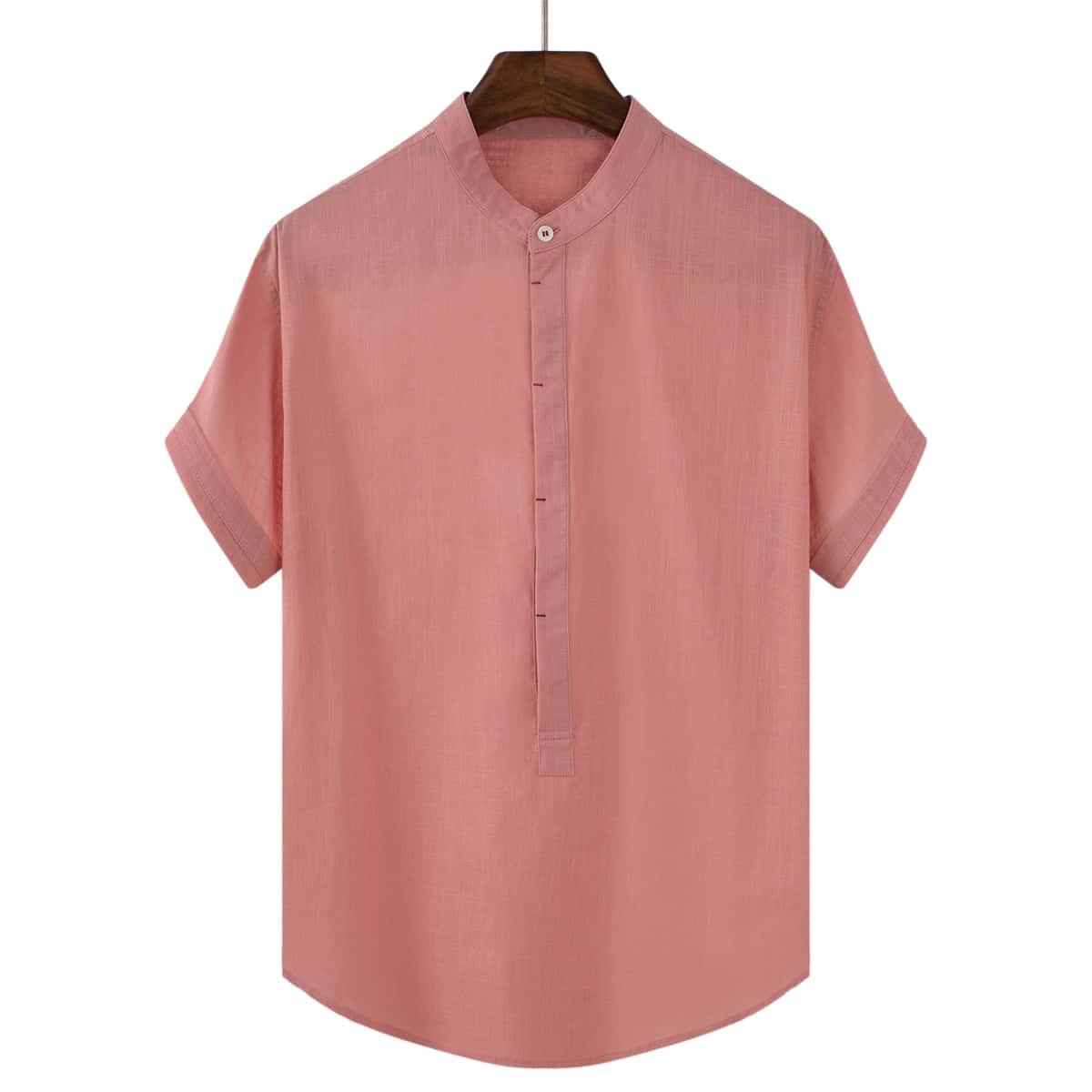 Мужская однотонная рубашка с коротким рукавом с воротником-стойкой