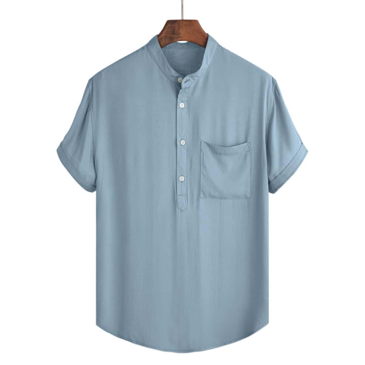 Мужская однотонная рубашка