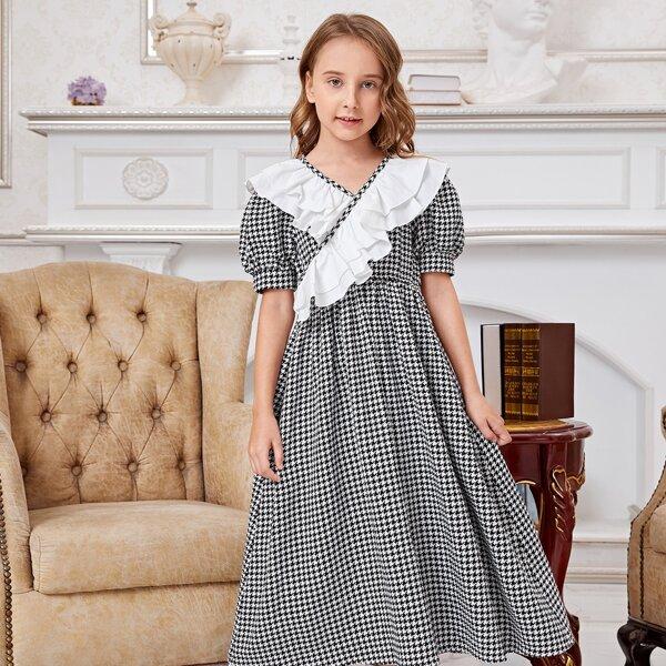 Girls Houndstooth Puff Sleeve Ruffle Trim Dress, Black and white