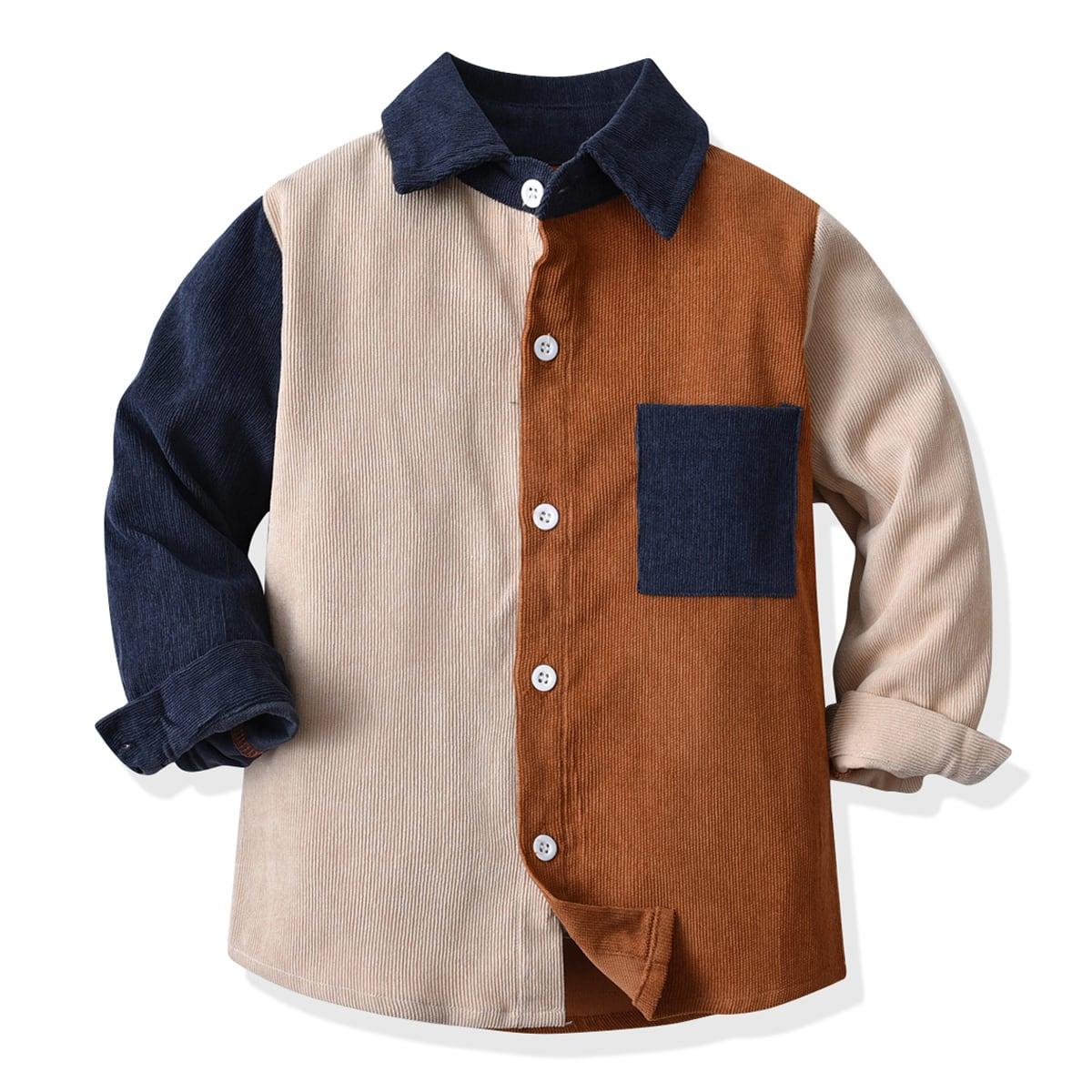 для мальчиков Рубашка контрастный с карманом вельветовый