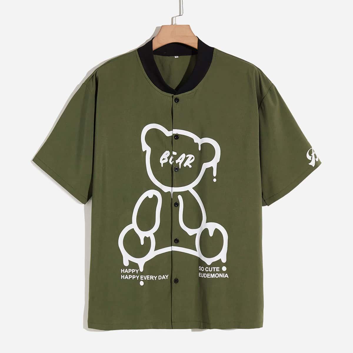 Мужская рубашка с рисунком медведя и текстовым рисунком