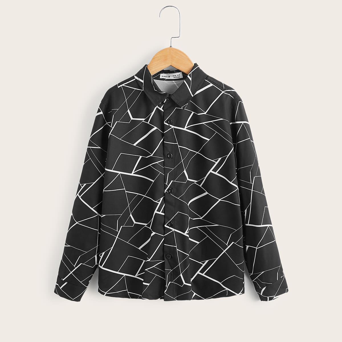 Рубашка на пуговицах с географическим принтом для мальчиков