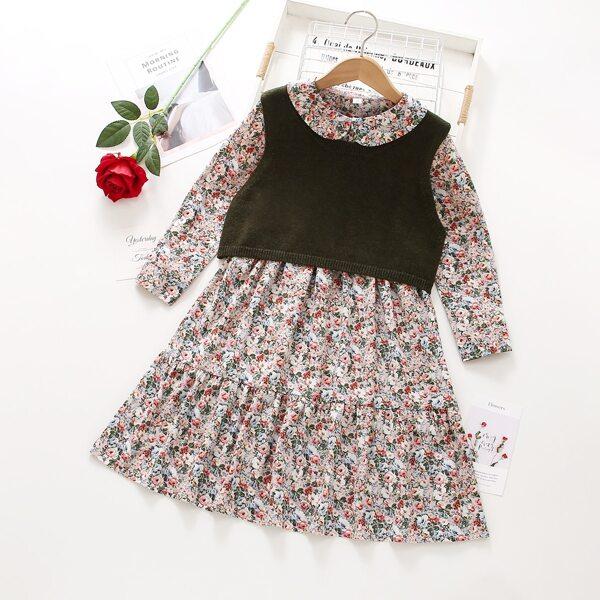 Girls Tank Knit Top & Floral Print Peter-pan Collar Ruffle Hem Dress, Multicolor